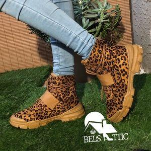 Vegan Suede Leopard Print LaceAnkle Sneaker Bootie